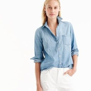 J Crew Always Chambray Button Up Shirt 00 Blue XXS